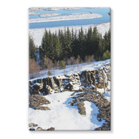 Ice Frozen On Rocky Mountain Stretched Canvas 24X36 Wall Decor