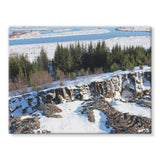 Ice Frozen On Rocky Mountain Stretched Canvas 32X24 Wall Decor