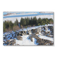 Ice Frozen On Rocky Mountain Stretched Canvas 36X24 Wall Decor