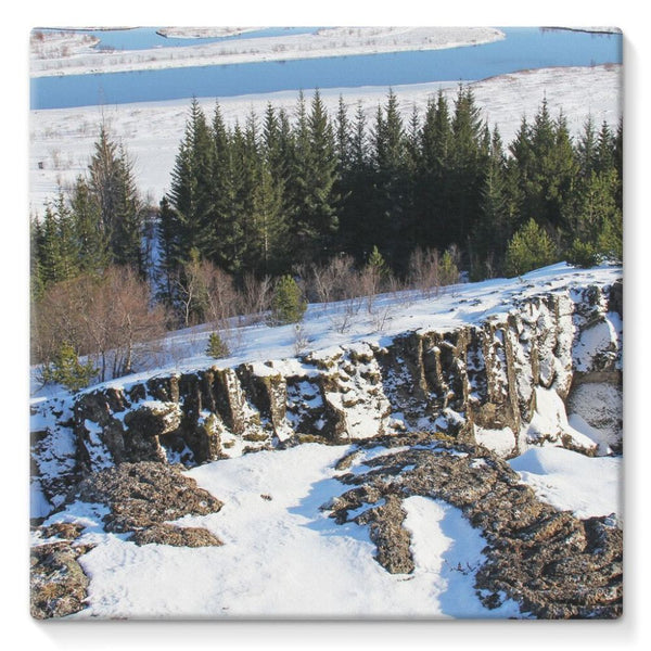 Ice Frozen On Rocky Mountain Stretched Eco-Canvas 10X10 Wall Decor