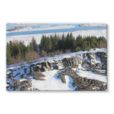 Ice Frozen On Rocky Mountain Stretched Eco-Canvas 36X24 Wall Decor