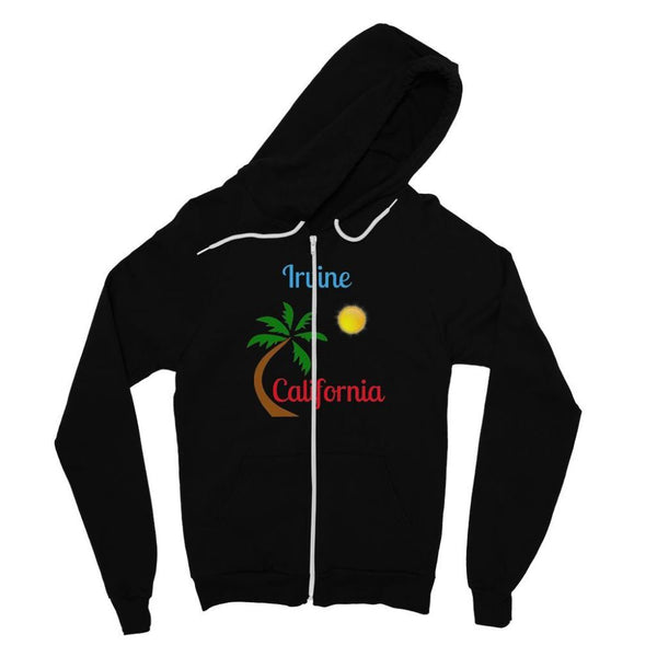 Irvine California Palm Sun Fine Jersey Zip Hoodie S / Black Apparel