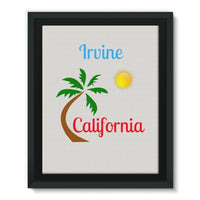 Irvine California Palm Sun Framed Eco-Canvas 11X14 Wall Decor