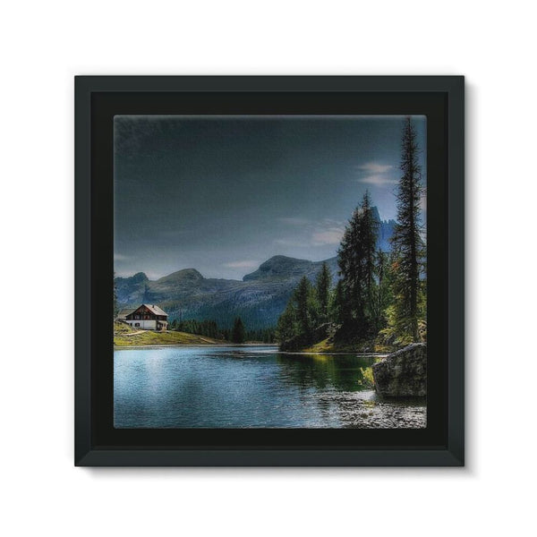 Lake In Forest With House Framed Canvas 12X12 Wall Decor