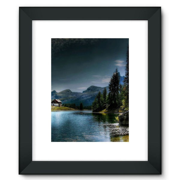 Lake In Forest With House Framed Fine Art Print 12X16 / Black Wall Decor