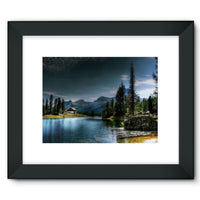 Lake In Forest With House Framed Fine Art Print 16X12 / Black Wall Decor