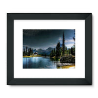 Lake In Forest With House Framed Fine Art Print 24X18 / Black Wall Decor