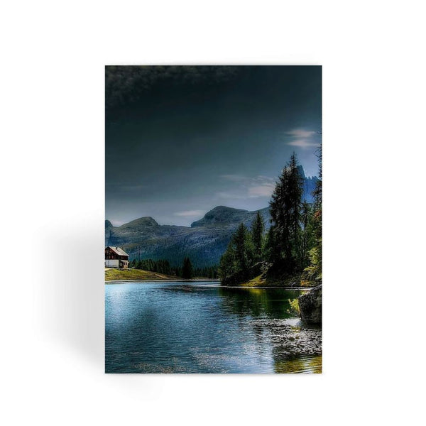 Lake In Forest With House Greeting Card 1 Prints