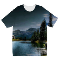 Lake In Forest With House Kids Sublimation T-Shirt 3-4 Years Apparel