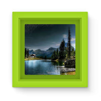 Lake In Forest With House Magnet Frame Green Homeware