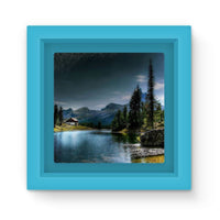 Lake In Forest With House Magnet Frame Light Blue Homeware
