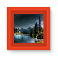 Lake In Forest With House Magnet Frame Red Homeware