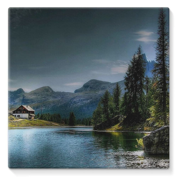 Lake In Forest With House Stretched Canvas 10X10 Wall Decor