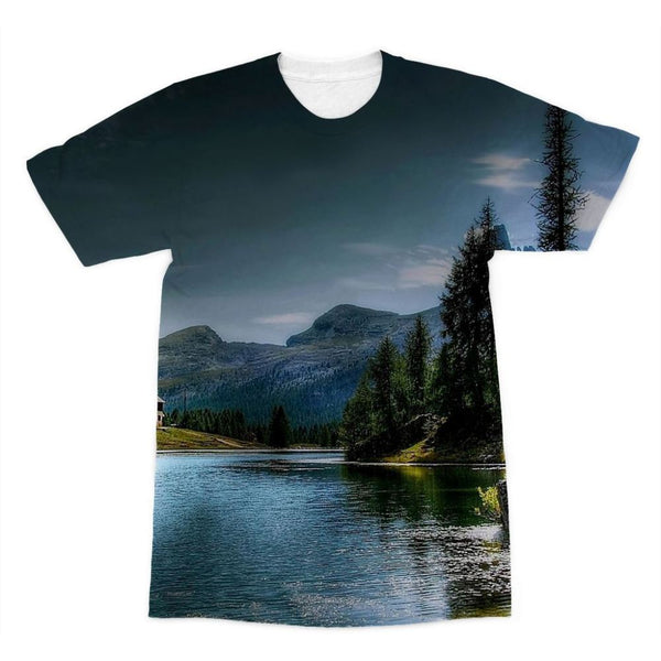 Lake In Forest With House Sublimation T-Shirt Xs Apparel
