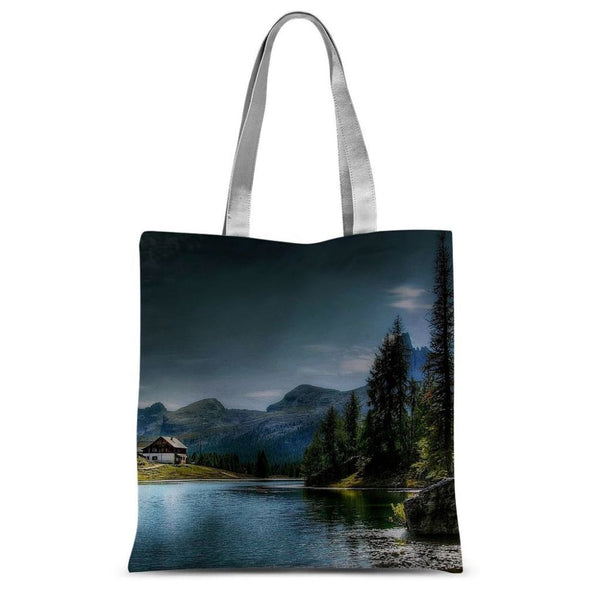 Lake In Forest With House Sublimation Tote Bag 15X16.5 Accessories