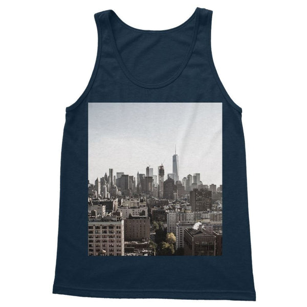 Landscape Of New York City Softstyle Tank Top S / Navy Apparel