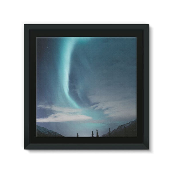 Lightning On Sky In Valley Framed Canvas 12X12 Wall Decor