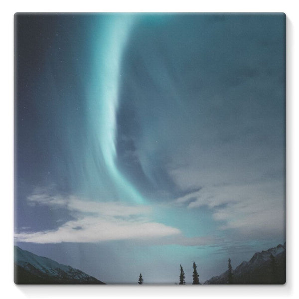 Lightning On Sky In Valley Stretched Canvas 10X10 Wall Decor