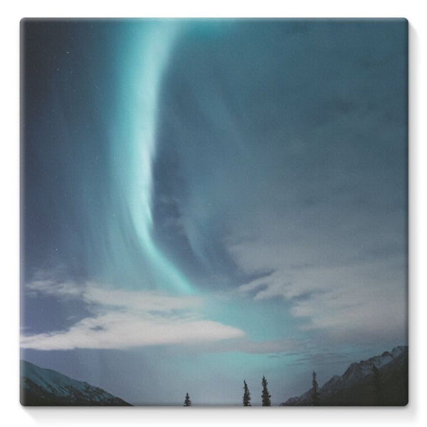 Lightning On Sky In Valley Stretched Eco-Canvas 10X10 Wall Decor