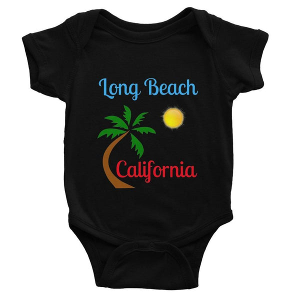 Long Beach California Baby Bodysuit 0-3 Months / Black Apparel