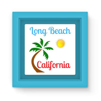 Long Beach California Magnet Frame Light Blue Homeware