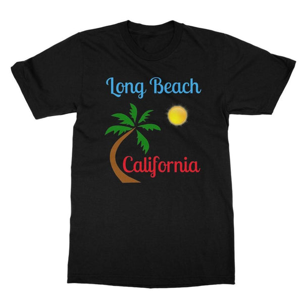 Long Beach California Softstyle Ringspun T-Shirt S / Black Apparel