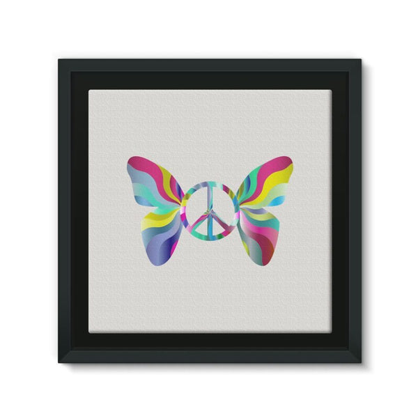 Love Peace Butterfly Framed Canvas 12X12 Wall Decor
