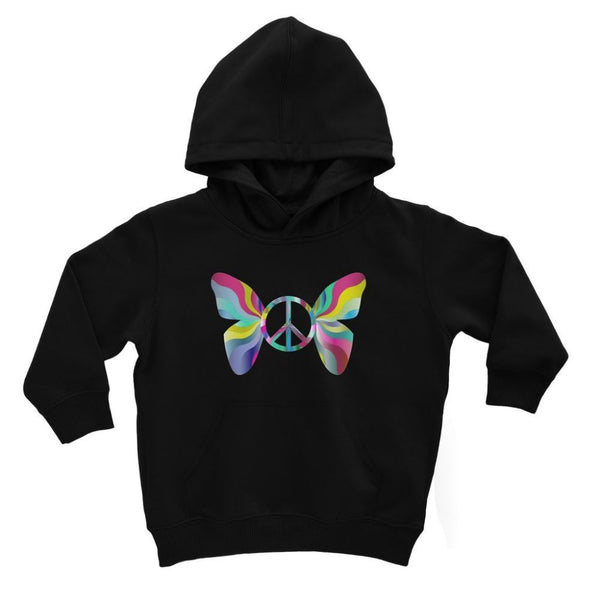 Love Peace Butterfly Kids Hoodie 3-4 Years / Jet Black Apparel