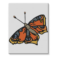 Many Browns Butterfly Stretched Eco-Canvas 11X14 Wall Decor