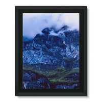 Mountain Covered Clouds Framed Canvas 12X16 Wall Decor
