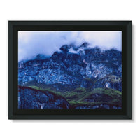 Mountain Covered Clouds Framed Canvas 16X12 Wall Decor