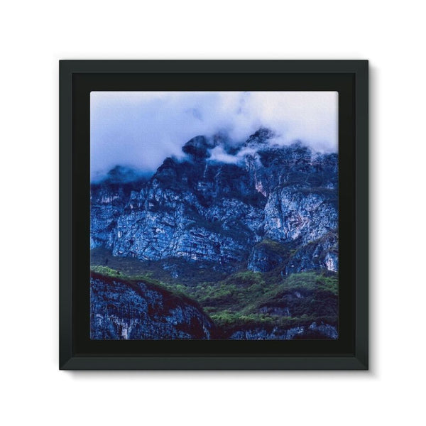 Mountain Covered Clouds Framed Eco-Canvas 10X10 Wall Decor