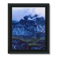 Mountain Covered Clouds Framed Eco-Canvas 11X14 Wall Decor