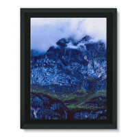 Mountain Covered Clouds Framed Eco-Canvas 18X24 Wall Decor