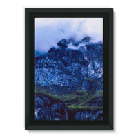 Mountain Covered Clouds Framed Eco-Canvas 24X36 Wall Decor