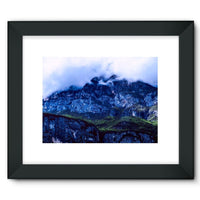 Mountain Covered Clouds Framed Fine Art Print 16X12 / Black Wall Decor