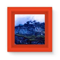Mountain Covered Clouds Magnet Frame Red Homeware