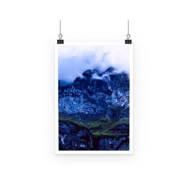 Mountain Covered Clouds Poster A3 Wall Decor