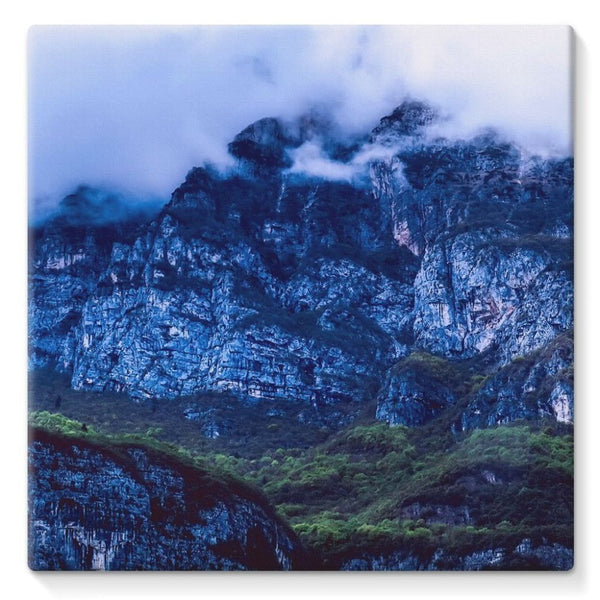 Mountain Covered Clouds Stretched Eco-Canvas 10X10 Wall Decor