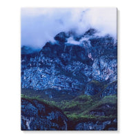 Mountain Covered Clouds Stretched Eco-Canvas 11X14 Wall Decor