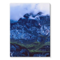 Mountain Covered Clouds Stretched Eco-Canvas 18X24 Wall Decor
