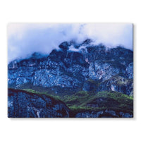 Mountain Covered Clouds Stretched Eco-Canvas 24X18 Wall Decor