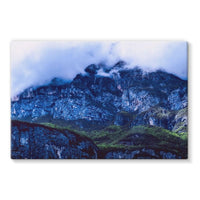 Mountain Covered Clouds Stretched Eco-Canvas 36X24 Wall Decor