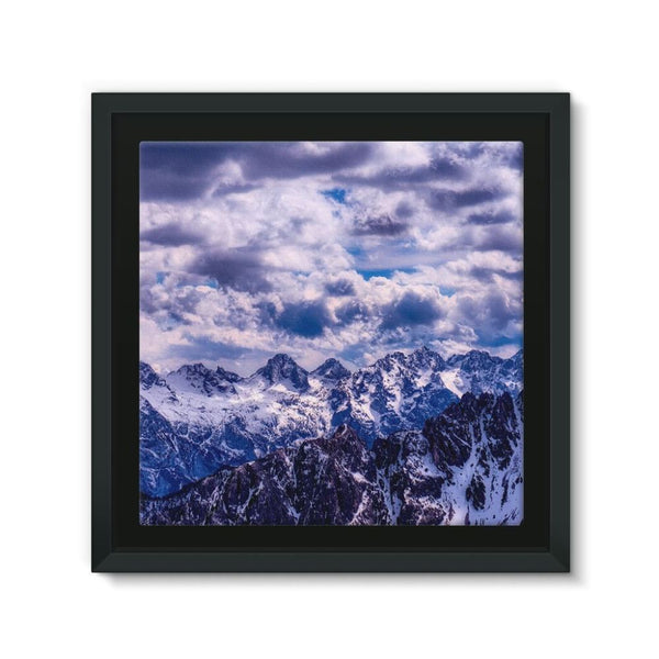 Mountain With Cloudy Sky Framed Canvas 12X12 Wall Decor
