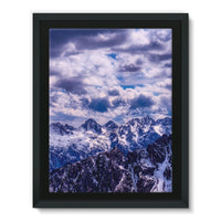 Mountain With Cloudy Sky Framed Eco-Canvas 18X24 Wall Decor