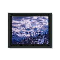 Mountain With Cloudy Sky Framed Eco-Canvas 24X18 Wall Decor