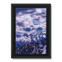 Mountain With Cloudy Sky Framed Eco-Canvas 24X36 Wall Decor