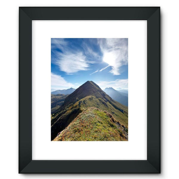 Mountain With Cloudy Sky Framed Fine Art Print 12X16 / Black Wall Decor