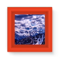 Mountain With Cloudy Sky Magnet Frame Red Homeware
