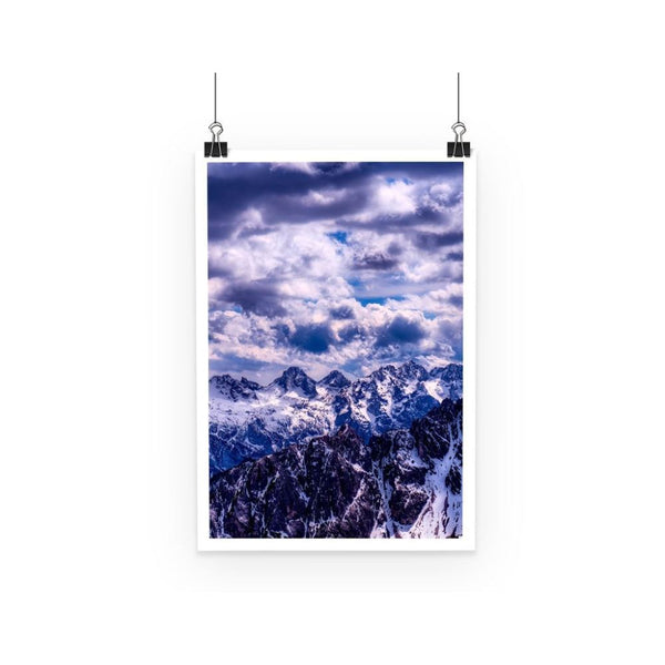 Mountain With Cloudy Sky Poster A3 Wall Decor